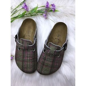 "Birkenstock ""Birkis"" plaid clogs size 36"